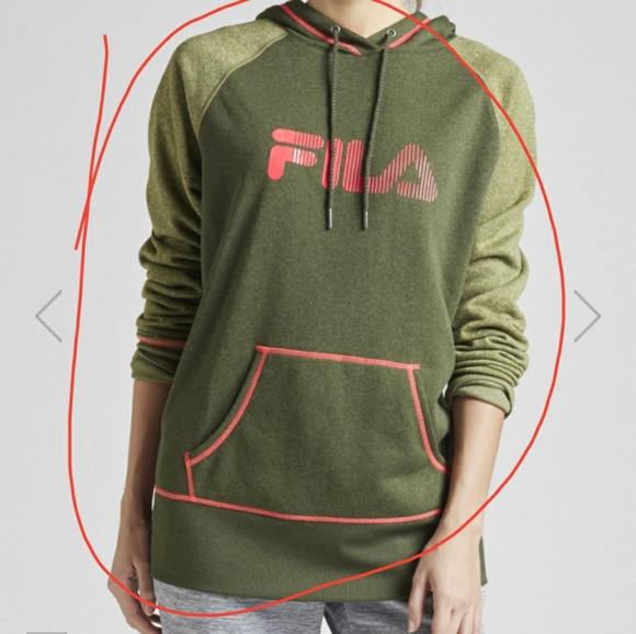 Fila Tops - Green and orange FILA Logo hoodie
